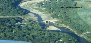 Aerial View of Lake Delhi After Dam Breach