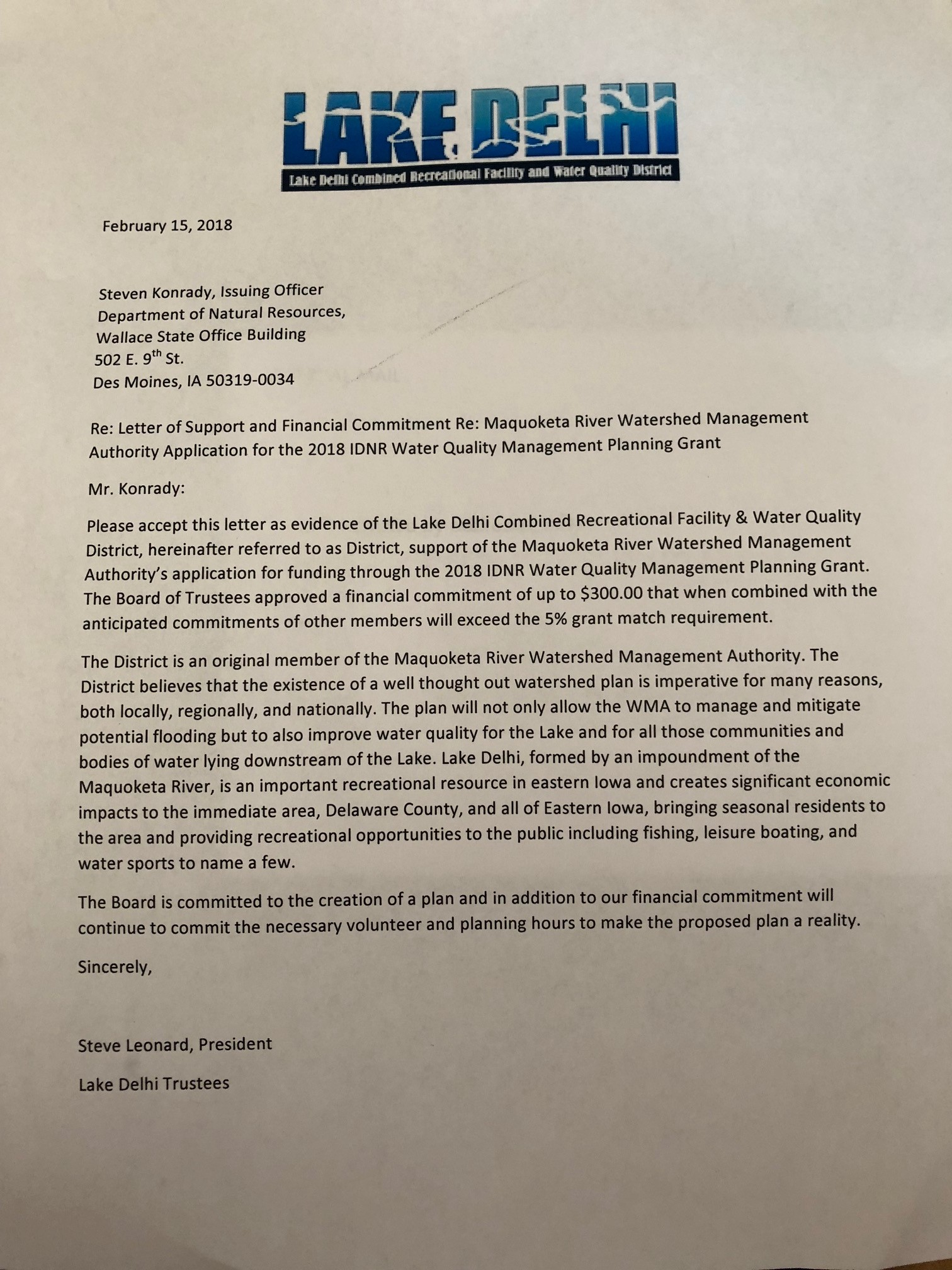 Letter Of Support And Commitment To Mrwma For  Water Quality